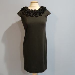 Gray ruffle neck cap sleeve sheath dress